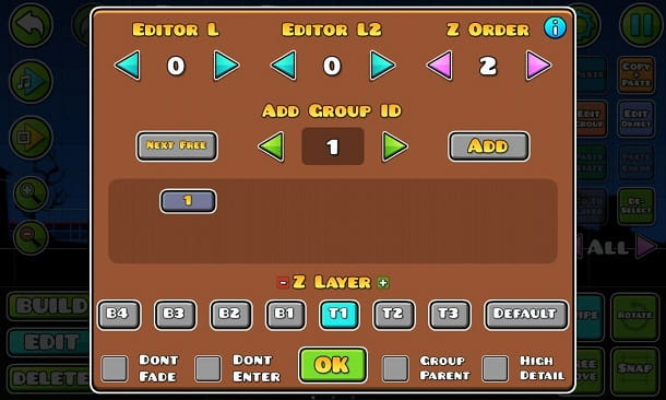 Gruppi editor Geometry Dash