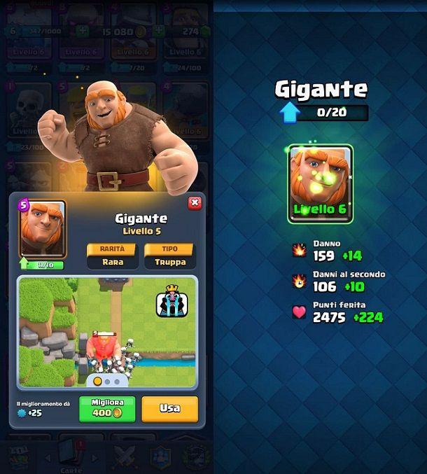 Potenziare carta Clash Royale