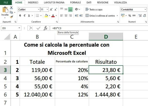 Fare un calcolo percentuale su Excel