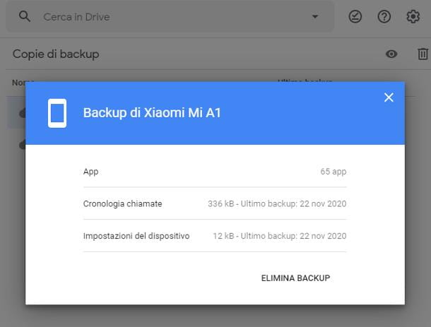 Come scaricare backup impostazioni Google Drive