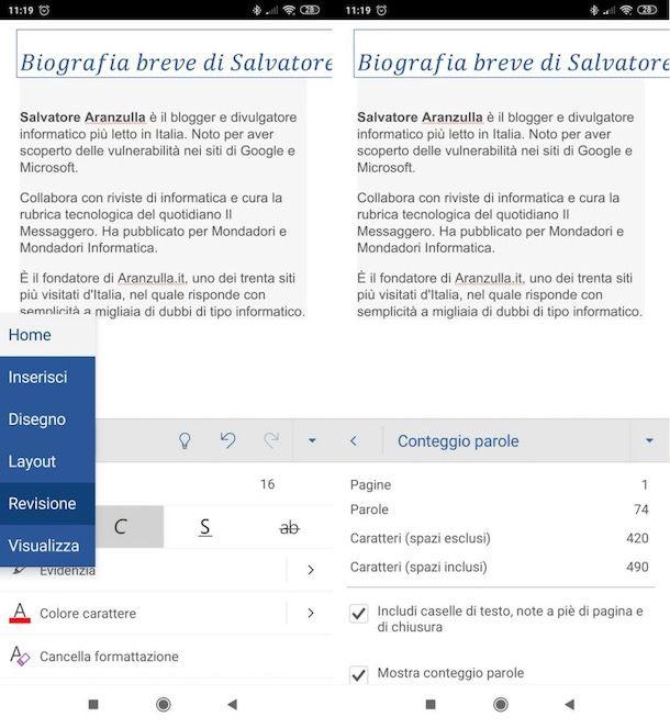 Contare caratteri Word su smartphone e tablet