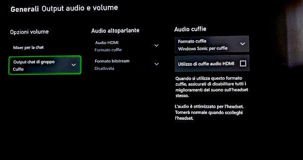 Output chat di gruppo Xbox