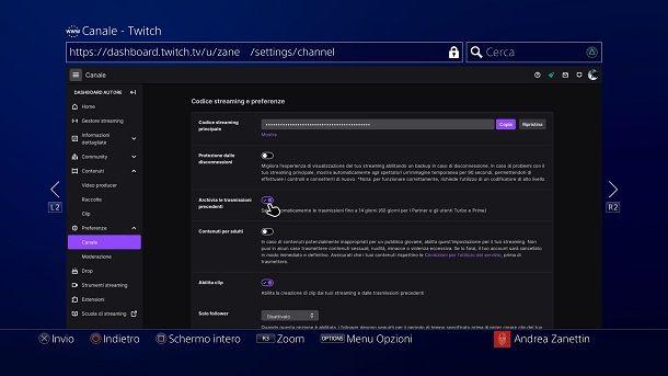 Come salvare le live su Twitch da PS4