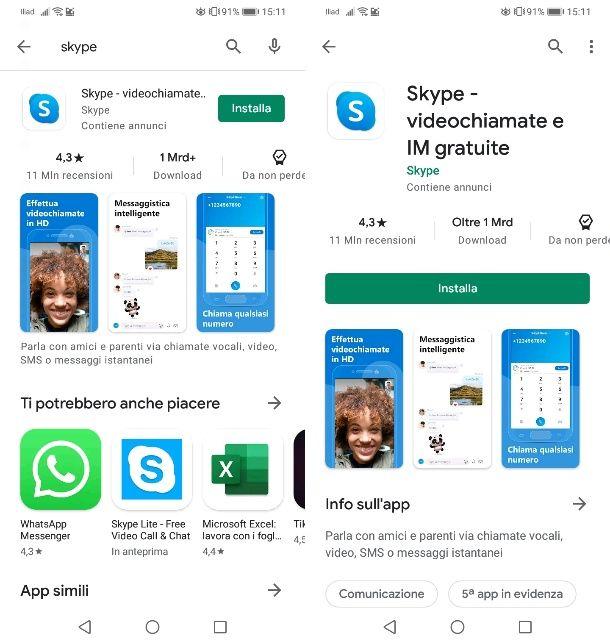 Installare Skype da Play Store