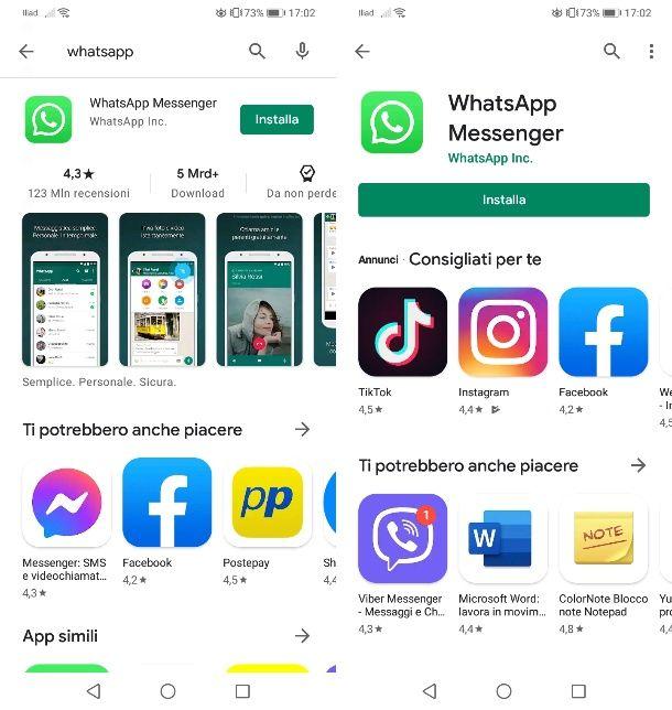 WhatsApp su Play Store