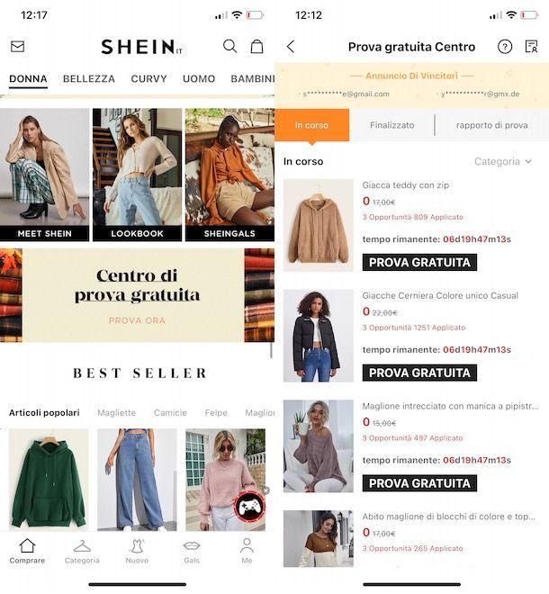 Richiedere prodotti gratis su SHEIN da app