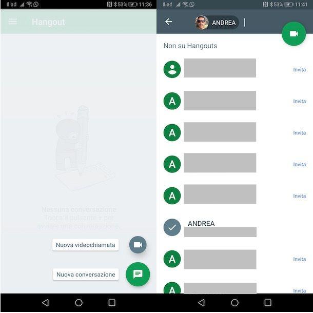 Videochiamare con Hangouts da Android