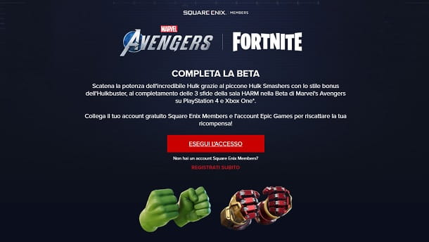 Come collegare account Fortnite Square Enix