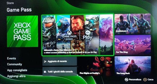 Interfaccia Xbox Series S Game Pass