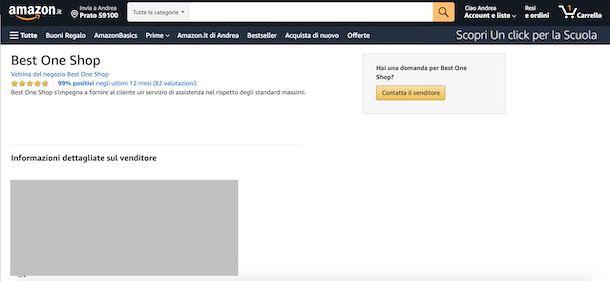 Contattare venditore Amazon