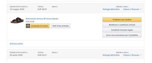 Problemi ordine Amazon