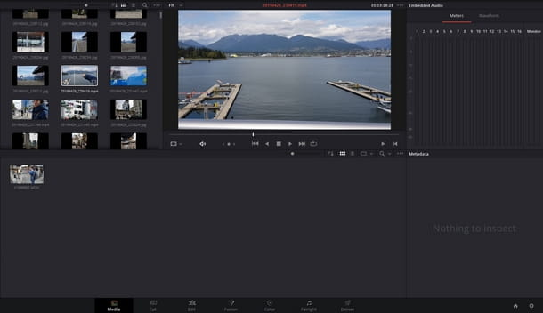 Scegliere dal pool di media importati in DaVinci Resolve