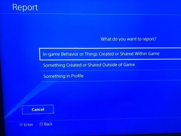 Specificare il motivo della segnalazione per ban di un utente PS4