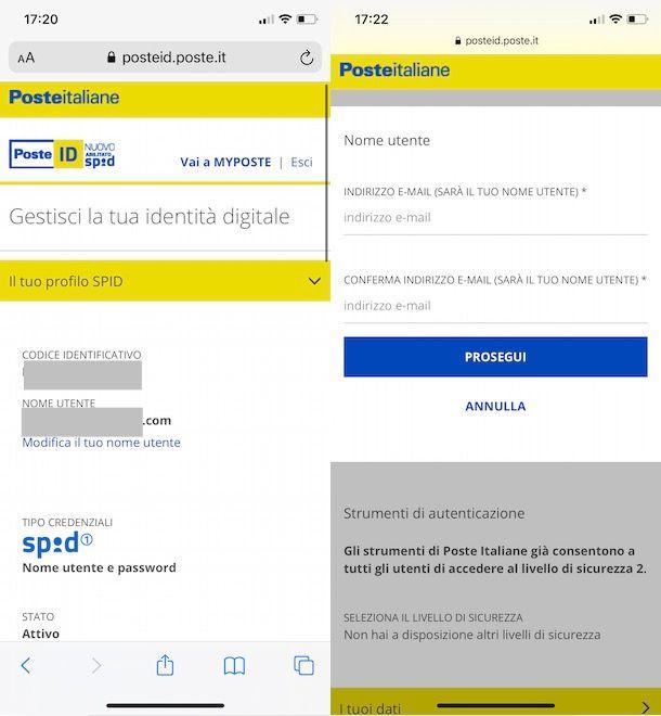 Come cambiare email SPID Poste da smartphone e tablet