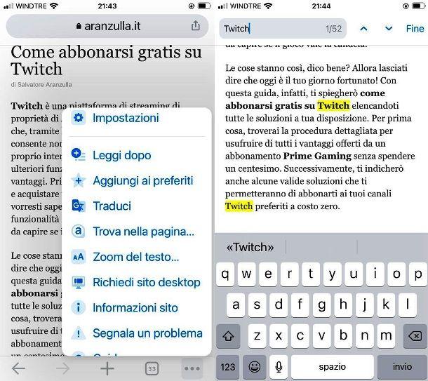 Cercare una parola con Chrome su iPhone