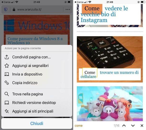 Cercare una parola su Firefox con iPhone