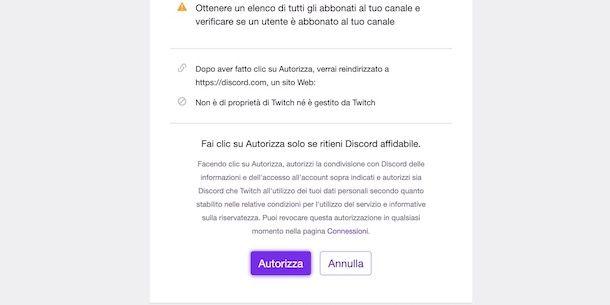 Autorizzare collegamento Discord e Twitch