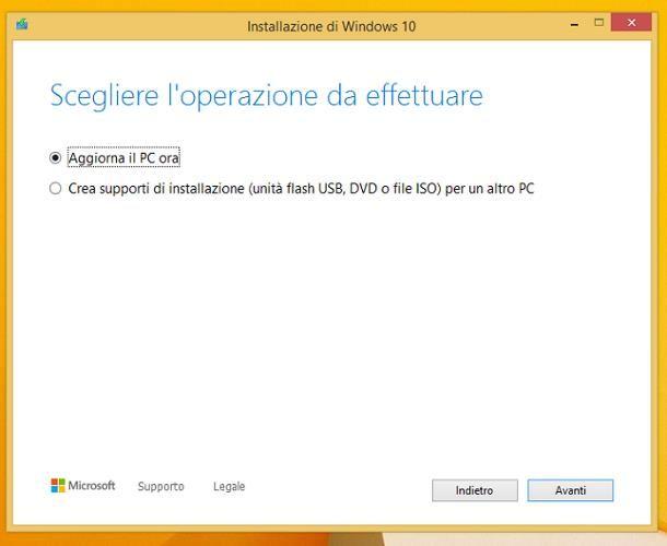 Come passare da Windows 8 a Windows 10 formattando il disco