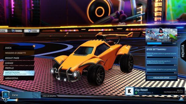 Menu Rocket League PC