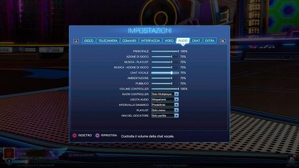 Chat vocale volume Rocket League PS4