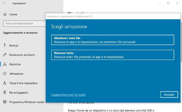 Come formattare un PC Windows 10 senza perdere dati