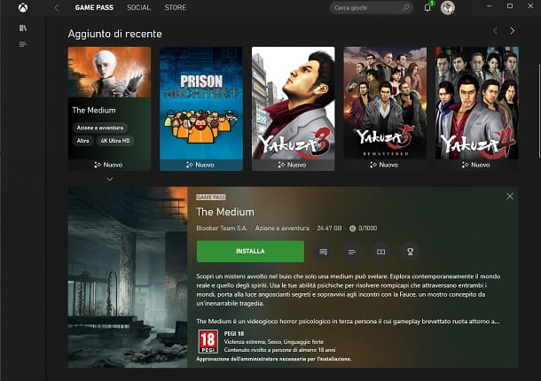 Installare giochi Game Pass PC