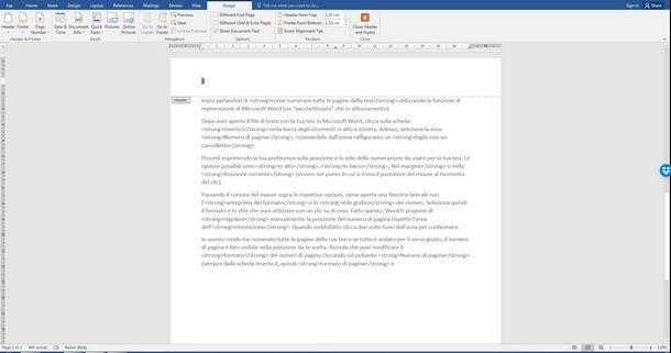 Cambiare formattazione e posizione al numero delle pagine su Word