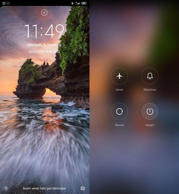Procedura standard per spegnere telefono Android