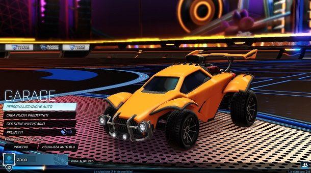 Personalizzazione auto Rocket League