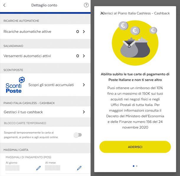 Come attivare app BancoPosta funzione gestione del Cashback
