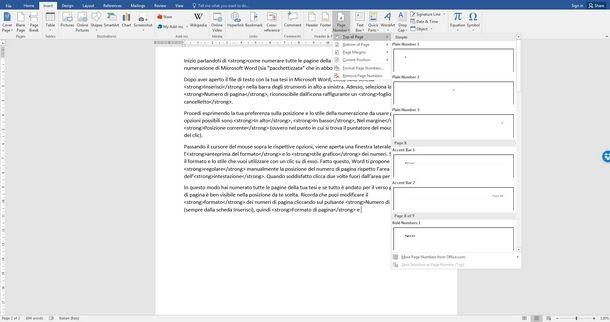 Scegliere la numerazione delle pagine con Word
