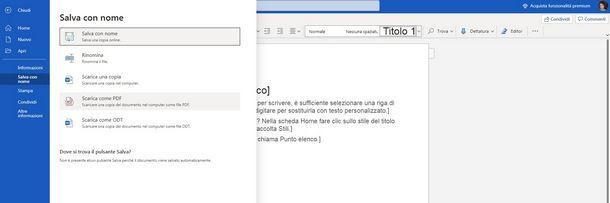 Creare un PDF con Word 365