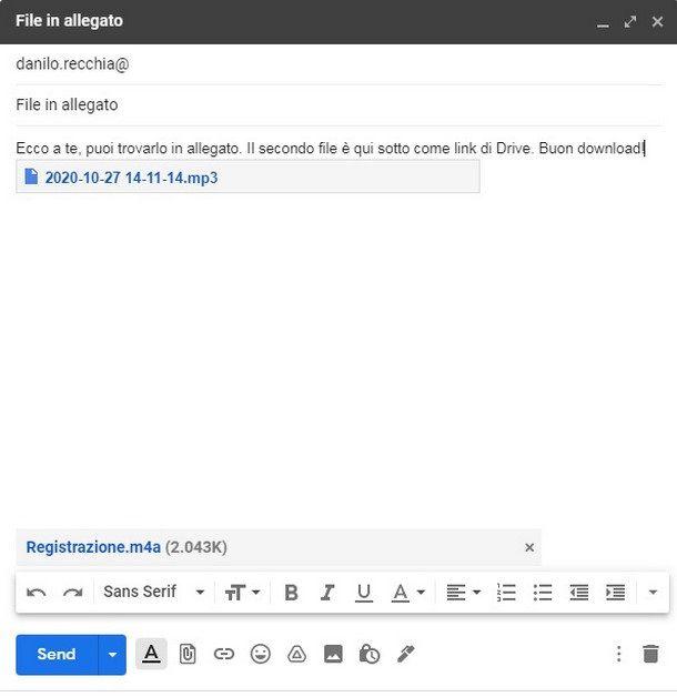 Caricare un link Drive per un file pesante su Gmail prima dell'invio del messaggio