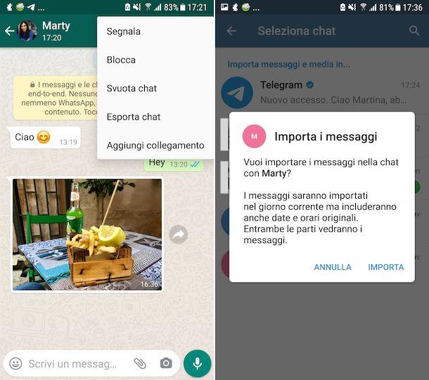Trasferire chat da WhatsApp a Telegram Android