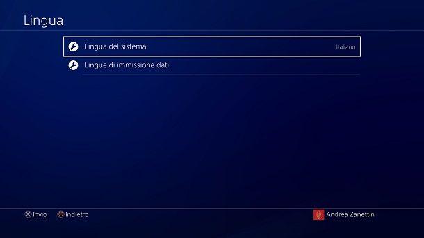 Cambiare lingua PS4