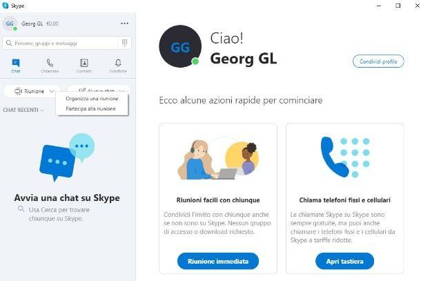 creazione conferenza su skype