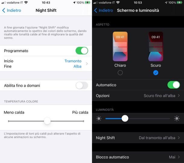 Modalità notte smartphone