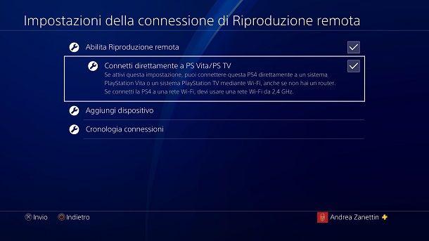 Connetti direttamente a PS Vita PS4
