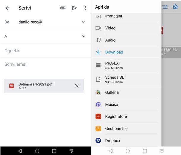 Caricare file pesanti come allegato su Gmail per terminali mobili