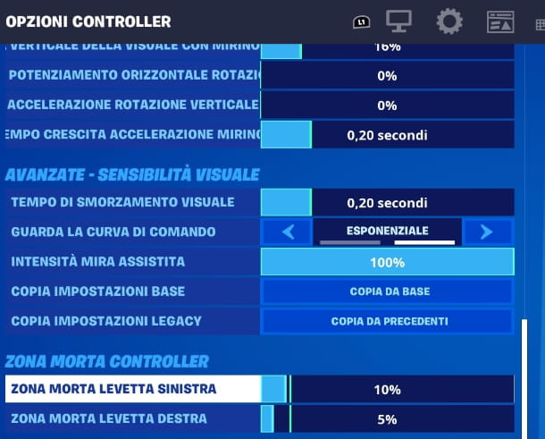 Fortnite PS4 menu mira assistita