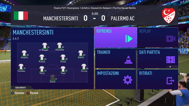 FIFA 21 PARTITA IN PAUSA
