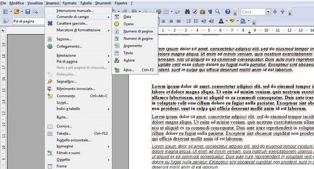 Inserire piè di pagina e intestazione con OpenOffice