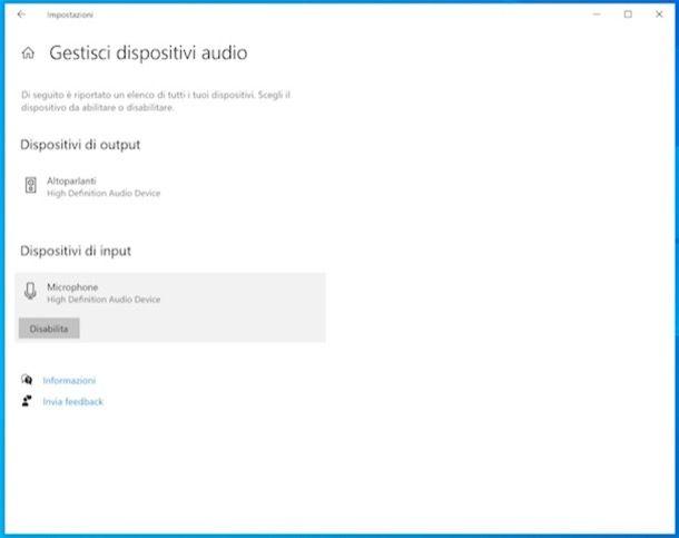 Disattivare il microfono su Windows 10