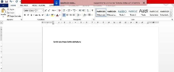 Dettare parole su Microsoft Word