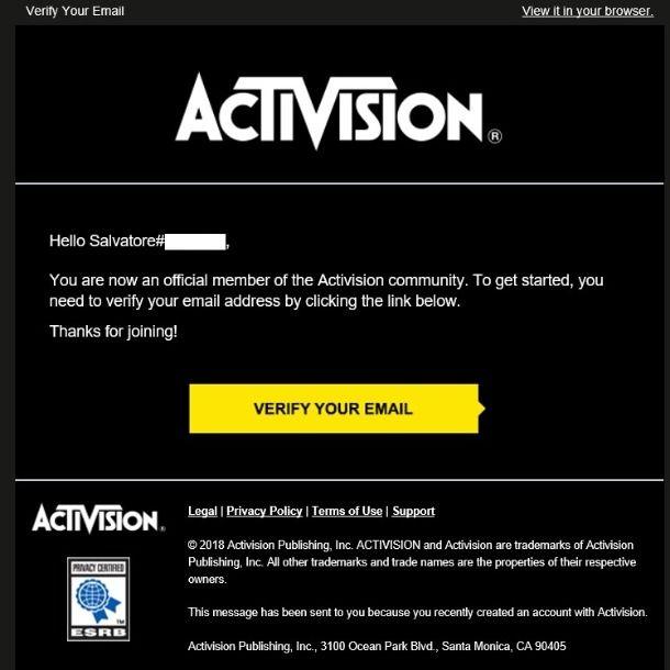 Account Activision verifica