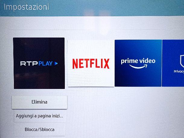 Disinstallare app singola TV Samsung