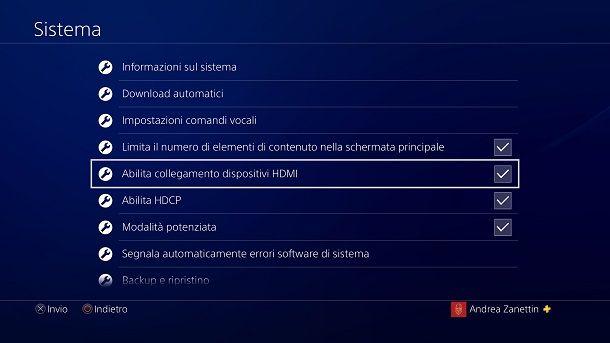 Abilita collegamento dispositivi HDMI PS4