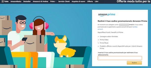 Codice Amazon Prime
