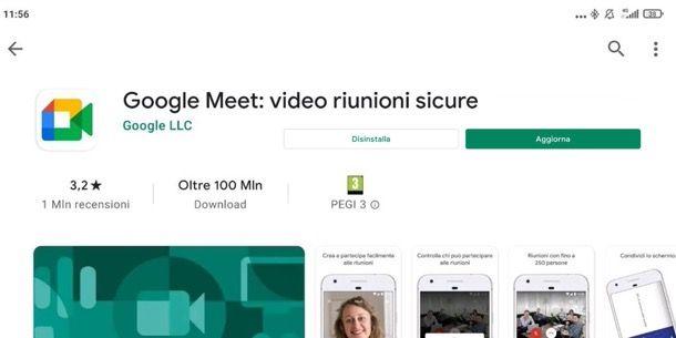 Aggiornare Meet su Android