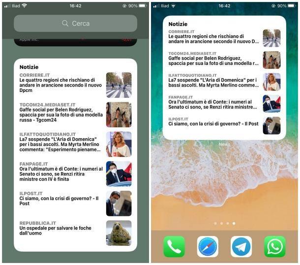 Migliori widget iOS: news